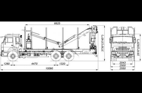 Сортиментовоз КАМАЗ 65115 с ГМУ VC8L74